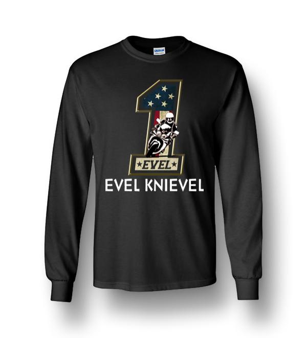 Evel Knievel Number One Motorcycles Styled Us Flag Long Sleeve T-Shirt