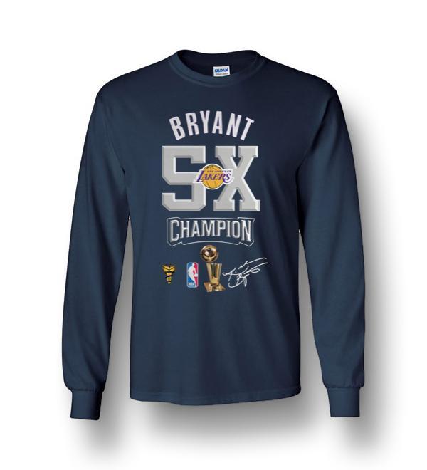 Kobe Bryant Nba Los Angeles Lakers 24 Champion 5x Long Sleeve T ...